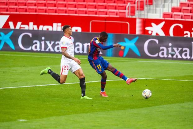 Bantai Sevilla, Dembele Sumbang Gol 1